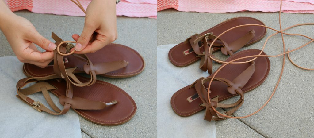 DIY Pompom-Sandalen Schritt 1_mygloss.ch