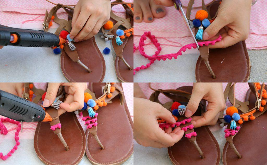 DIY Pompom-Sandalen Schritt 4_mygloss.ch